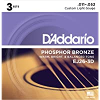 D'Addario EJ26-3D Phosphor Bronze Acoustic Guitar Strings, Custom Light, 11-52, Pack of 3