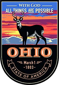 State Animal Ohio Night 4x5.5 inches Sticker Decal die Cut Vinyl - Made and Shipped in USA