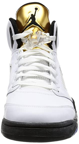 size 40 2af25 05b05 Amazon.com   Nike Mens Air Jordan 5 Retro Olympic White Black-Metallic Gold  Leather Size 10.5   Basketball