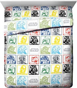 Jay Franco Star Wars Classic Grid Queen Sheet Set - 4 Piece Set Super Soft and Cozy Kid's Bedding Features Luke Skywalker & Darth Vade - Fade Resistant Microfiber Sheets (Official Star Wars Product)