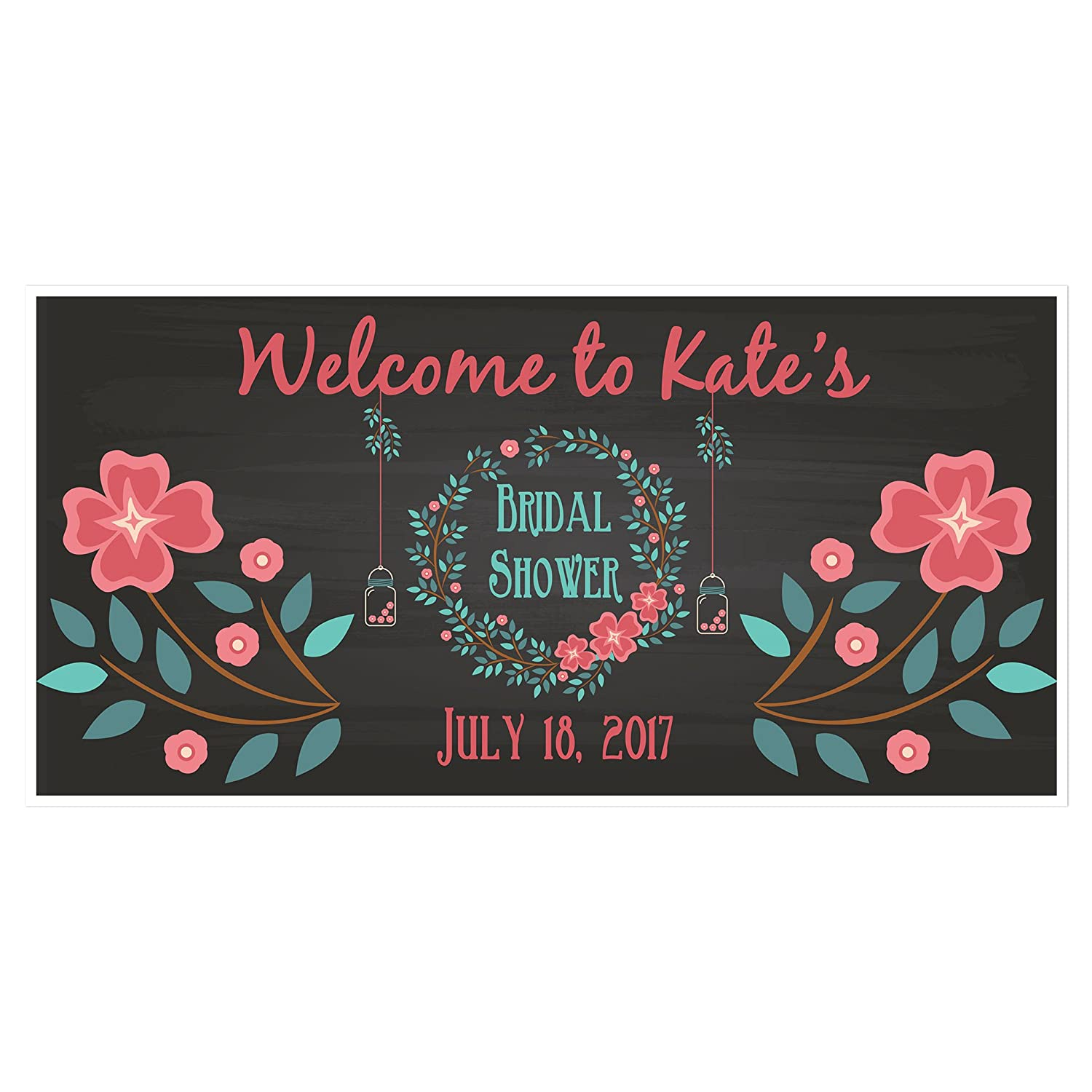 Floral Wreath Bridal Shower Personalized Party Banner Decoration