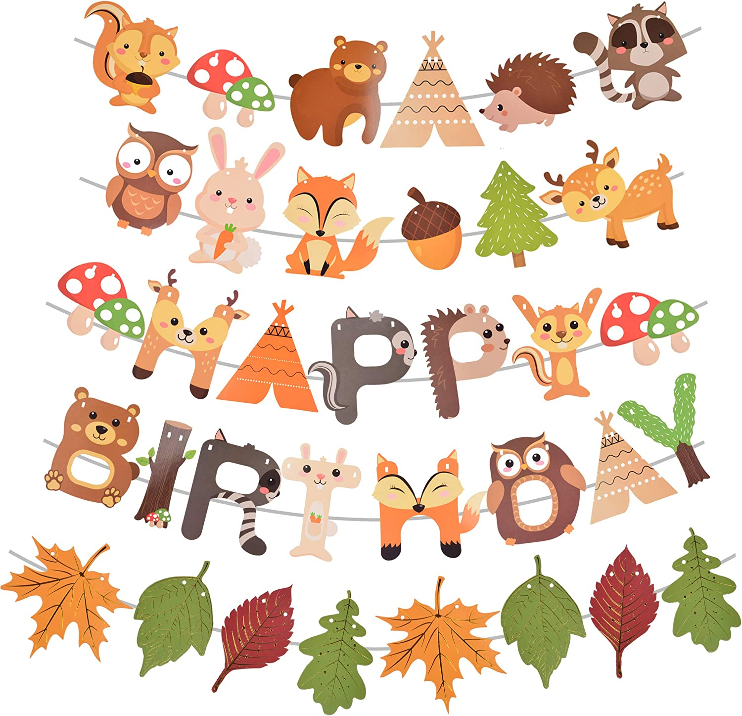 Woodland Animals Birthday Banner, Woodland Animals Party Favor, Woodland Animals Party Supplies for Animal Birthday Kids Birthday, Woodland Themed Happy Birthday Banner, for 1st 2nd 3rd 4th Bday
