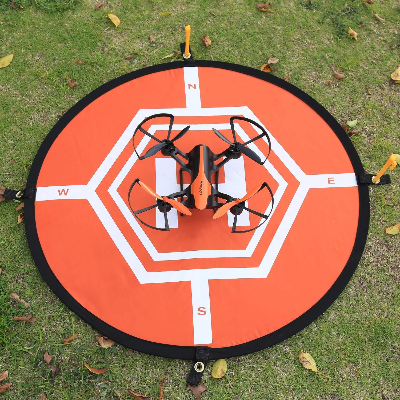 Virhuck 80cm Landing Pad para RC Drone Quadcopter, Fast-Fold / 4 Puntos Fijos / Impermeable, Helipuerto Protector Pista Aterrizaje Drone no Tripulados ...