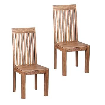 Akazie Stühle Holz Massiv 2er Set Esszimmerstühle Wohnling Küchen uPXiOkZT