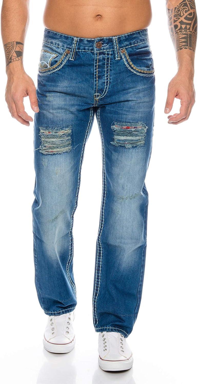 Rock Creek Mens Designer Jeans Trousers Thick Seams Vintage Blue RC-2056