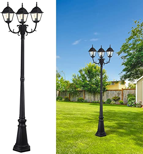 CINOTON Outdoor Lamp Post Light Surface-Mount, Waterproof Outdoor Street Light with Triple-Head, Landscape Post Lighting for Backyard, Patio, Garden Black Light Pole with Clear Glass Panels