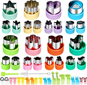 Vegetable Cutters Shapes Set, 24pcs Mini Cookie Cutters, Vegetable Cutter and Fruit Stamps Mold + 20pcs Food Picks and Forks -for Kids Baking and Food Supplement Accessories