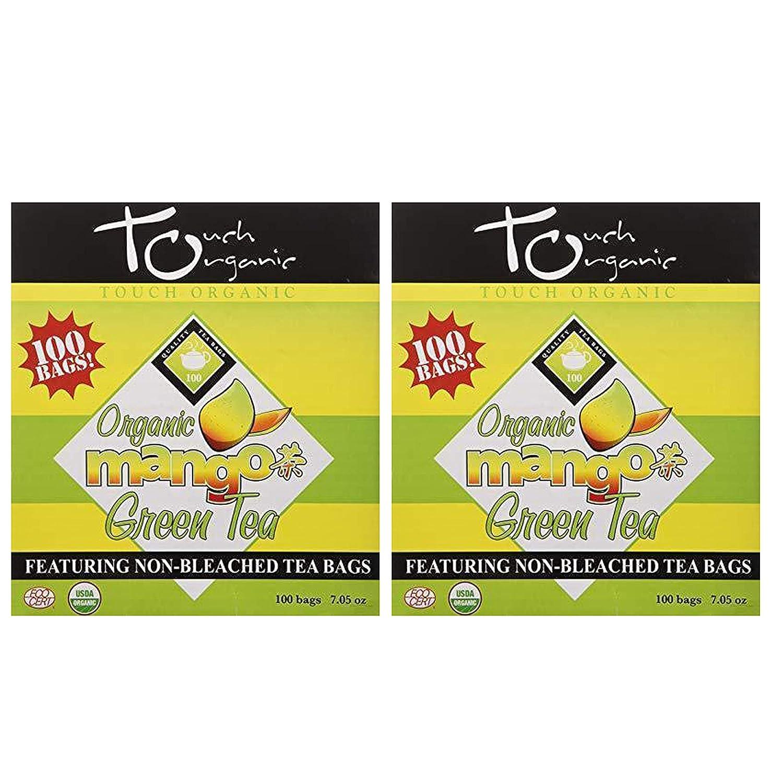 Organic Mango Green Tea from Touch Organic - 200 Bags Total - Premium Tea Antioxidant Rich with Fruity Mango Flavor