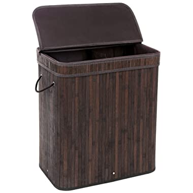SONGMICS Divided Bamboo Laundry Basket Double Hamper with Lid Liner and Handles Two-Section Clothes Storage Rectangular Dark Brown ULCB64B