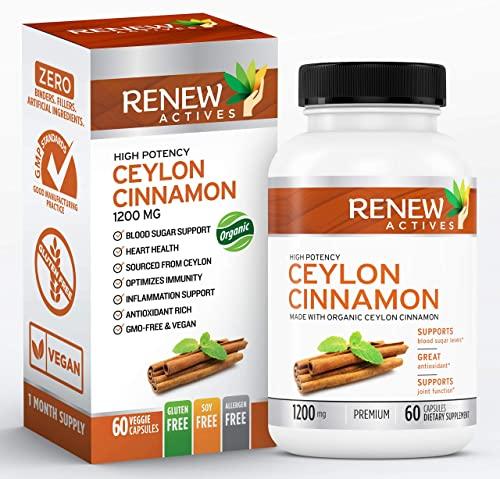 Organic Ceylon Cinnamon Supplement Capsules All Natural Vegan Cinnamon Pills – Anti-Inflammatory Antioxidant Support for Healthy Blood Sugar, Joints, Circulation and Digestion – 60 Veggie Capsules