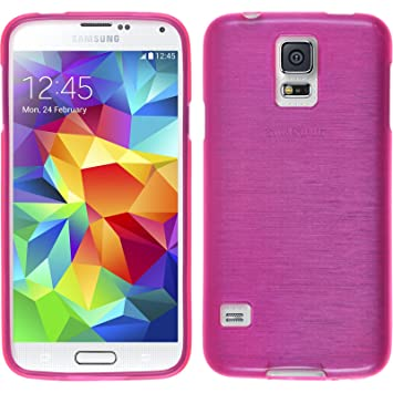PhoneNatic – Carcasa para Samsung Galaxy S5 Mini – Carcasa de Silicona Rosa Brushed Cover Galaxy S5 Mini Funda + 2 Protectores