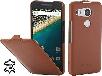 StilGut UltraSlim Case, Custodia in Pelle per Google Nexus 5X, Cognac