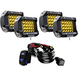 TURBO SII LED Pods Light Bar 4 Inch 48W Yellow Driving Fog Off Road Lights Quad Row LED Cubes Lights W/Rocker Switch…