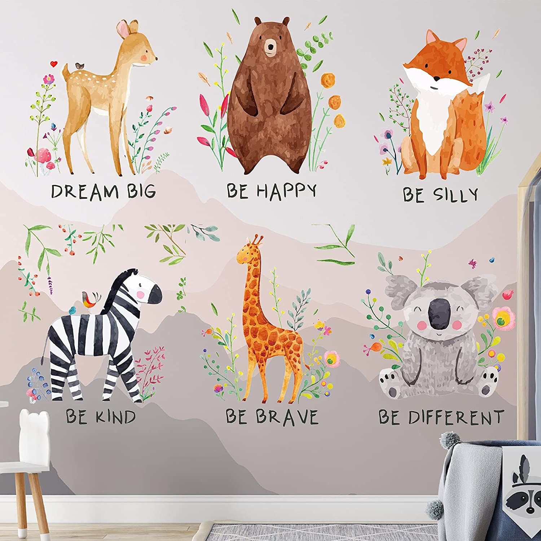 6 Pieces Safari Nursery Decor Sticker Baby Nursery Room Decor Wall Decals Jungle Animal Quote Wall Art Decal Safari Animals Colorful Inspirational Sticker for Baby Boy Girl Kid Nursery Kids Room