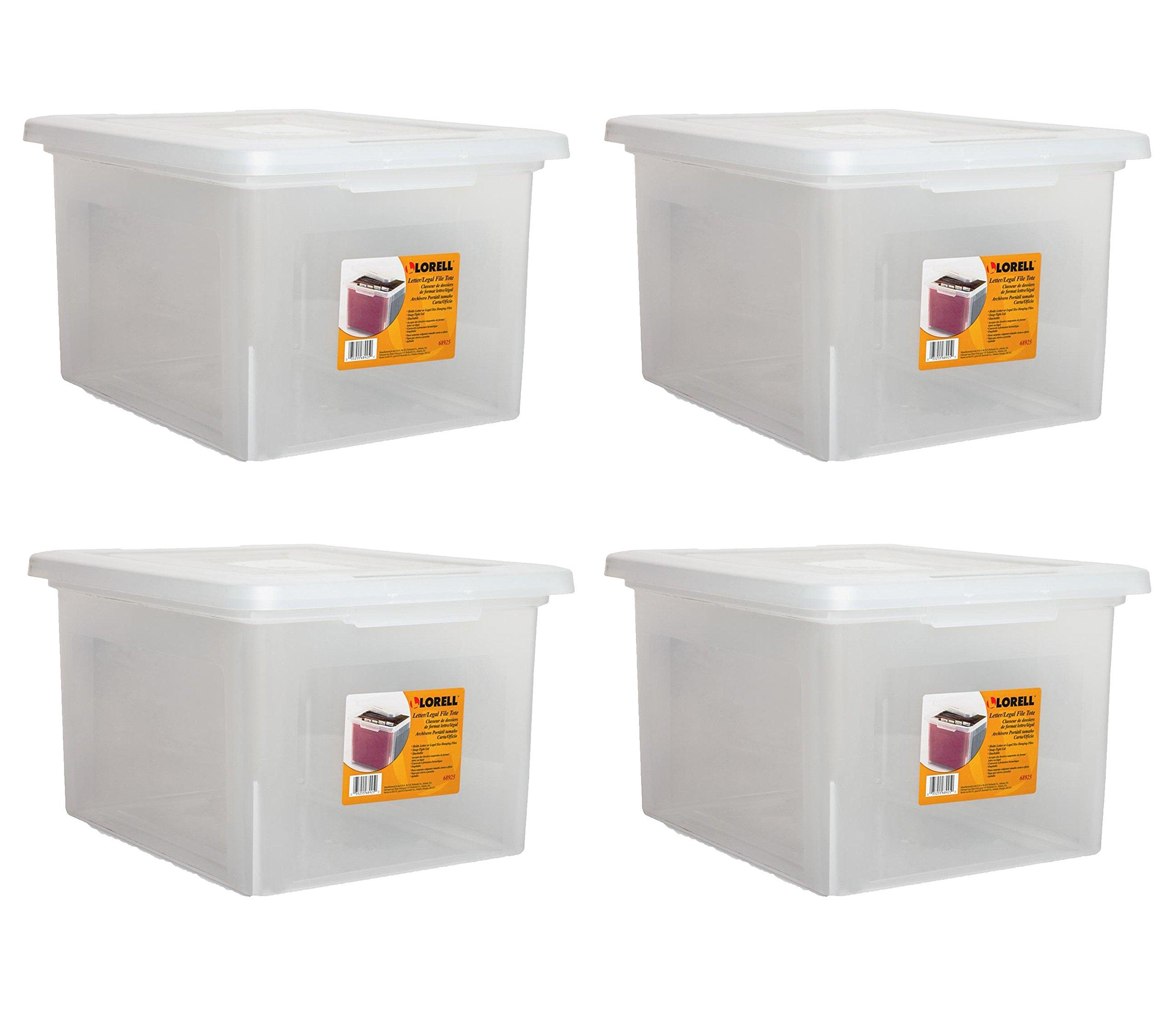 Lorell LLR68925 Letter/Legal Plastic File Box (4-Pack Savings)