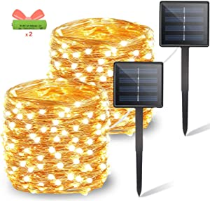 OZS 2-Pack Each 72ft 200LED Solar String Lights Outdoor, Updated More Durable Solar Christmas Lights, Waterproof Copper Wire 8 Modes Fairy Lights for Christmas Wedding Yard Party (Warm White)