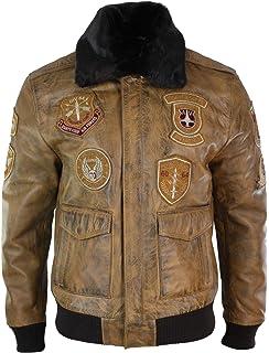 noir insignes homme cuir avec pour style Veste aviateur en de uOPXTkZi