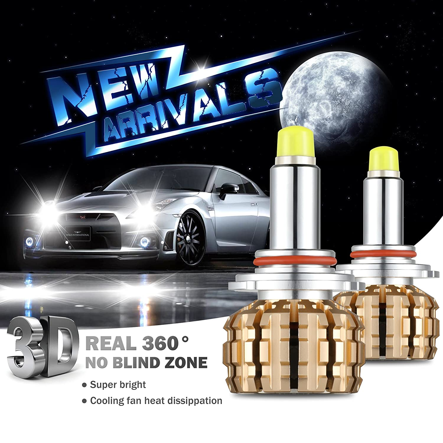 Amazon.com: LED Headlight Bulbs 9005,GeeMai All in-One Conversion Kit 7000Lm 6000K Real 360 degrees Cool White CREE-3 Year Warranty.: Automotive