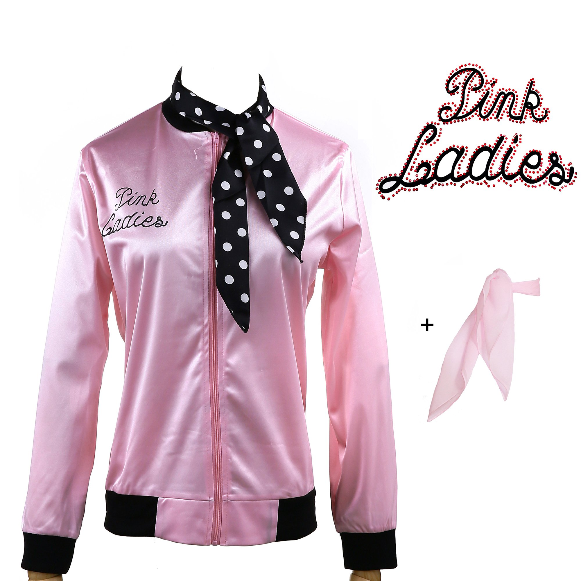 Yan Zhong 1950s Rhinestone Pink Ladies Satin Jacket with Neck Scarf T Bird Women Danny Halloween Costume Fancy Dress (X-Large)