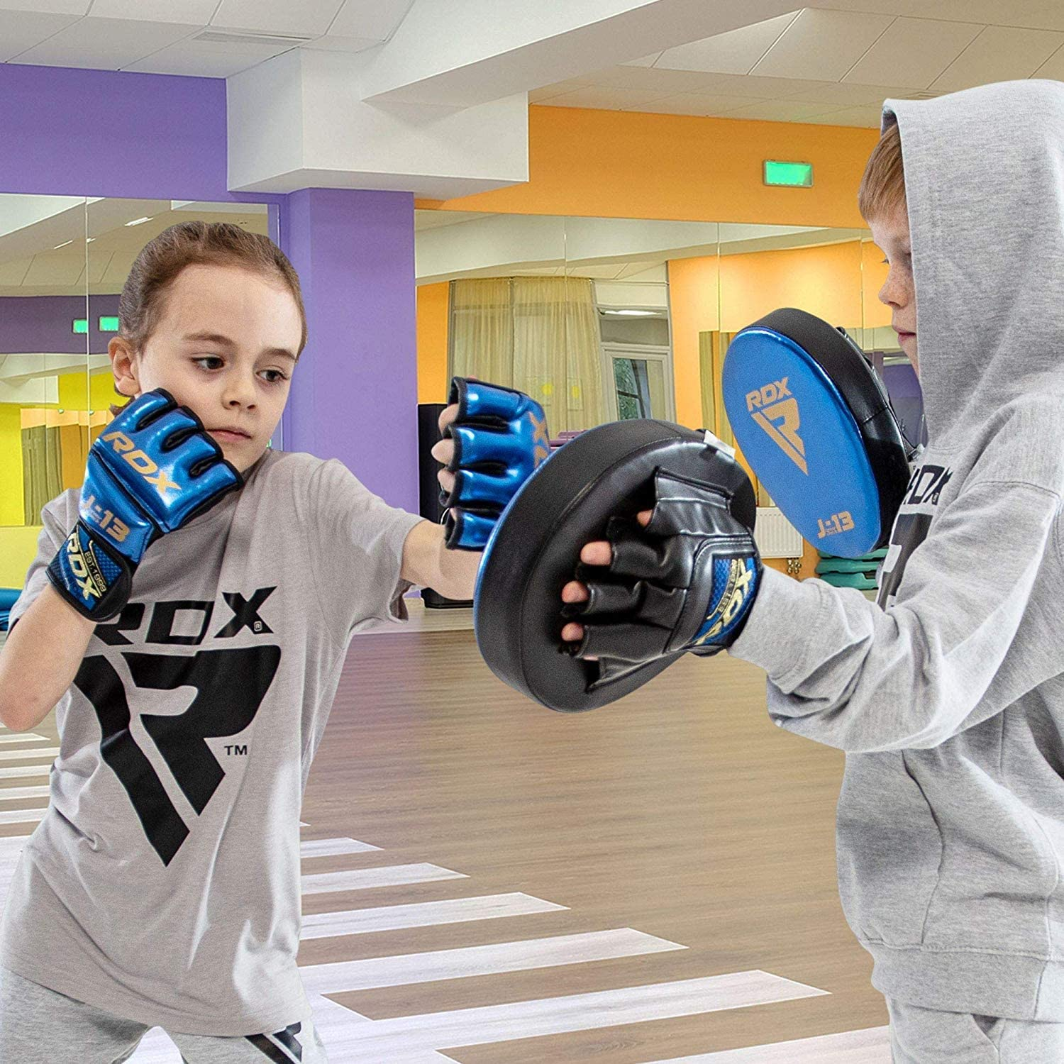RDX Kids MMA Gloves for Martial Arts Grappling Training Kickboxing Youth Metallic Skin Combat Leather Mitts  Good for Sparring Junior Cage Fighting /& Punching Bag Muay Thai