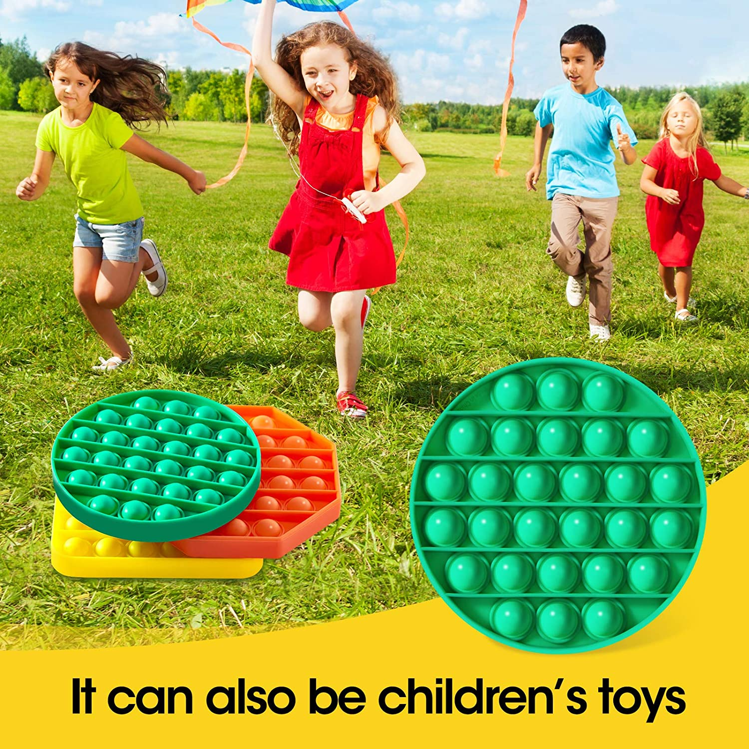 Squeeze Sensory Toy for Adults Yellow+Green+Orange Autism Special Needs Stress Reliever Toy 3 Pack Push Pop Bubble Fidget Sensory Toy Kids and Friends Silicone Stress Reliever Toy