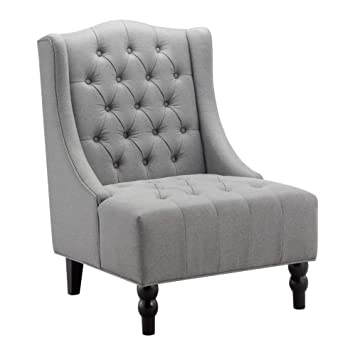 Remarkable Amazon Com Ball Cast Wingback Tufted Accent Chair Tall Squirreltailoven Fun Painted Chair Ideas Images Squirreltailovenorg