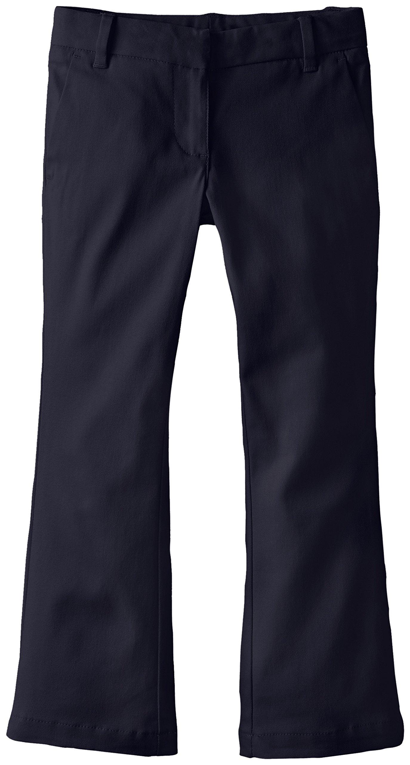 IZOD Little Girls' Uniform Pant Skinny Boot, Navy, 4 Slim
