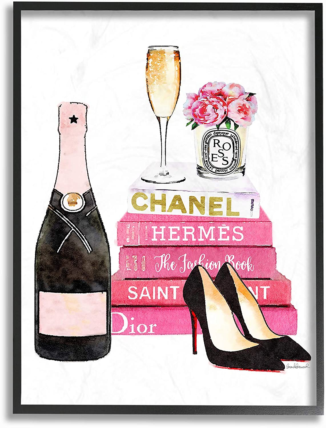 Stupell Industries Glam Pink Fashion Book Champagne Hells and Flowers Framed Giclee Texturized Art, Proudly Made in USA