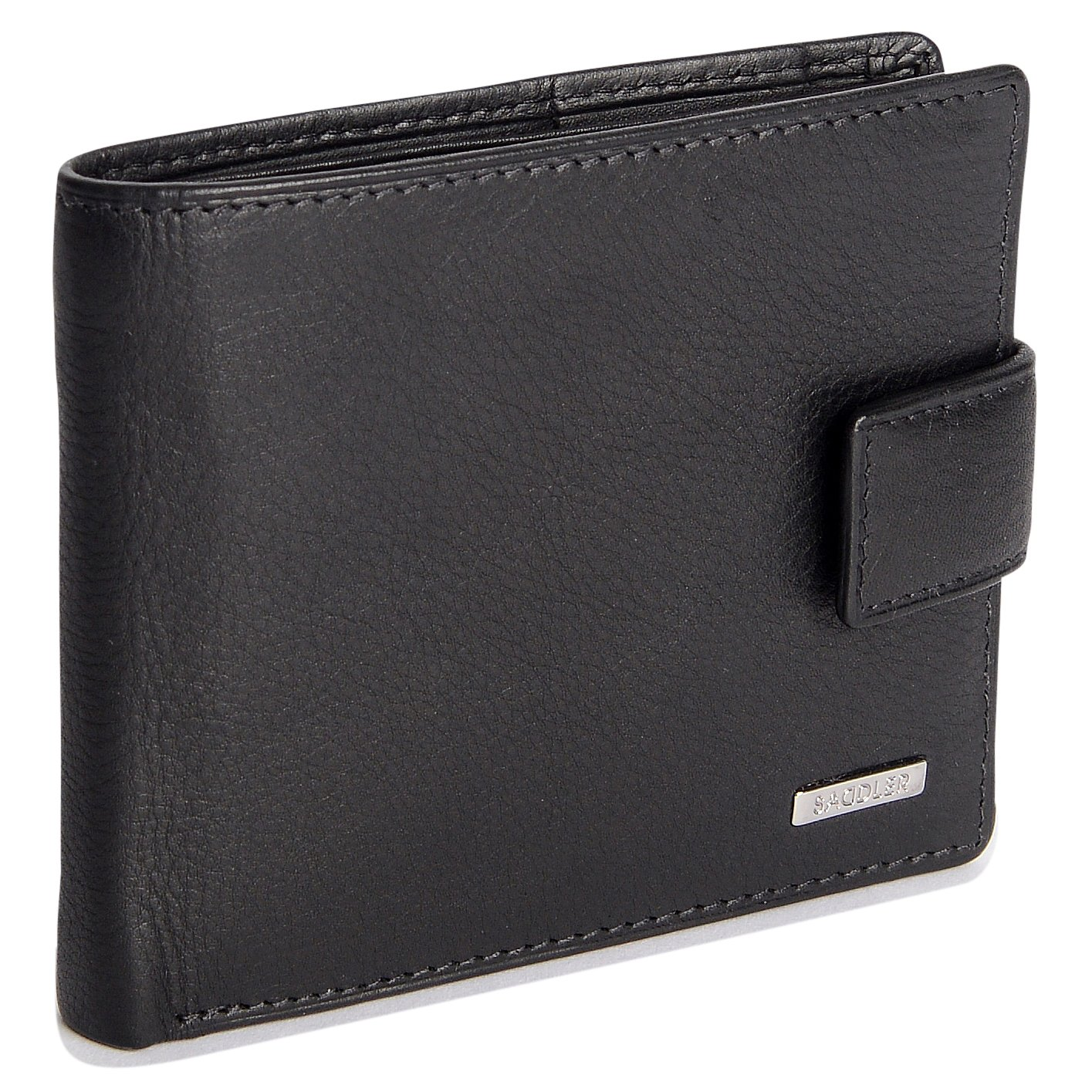 bb7d543329 SADDLER Soft Nappa Leather 10 Credit Card Billfold with Tab and Zipper Coin  Purse at Amazon Men s Clothing store