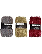 Homestreet Extra Long 15 metre, 50 foot Christmas Tinsel in a choice of Red, Silver or Gold Xmas Decoration
