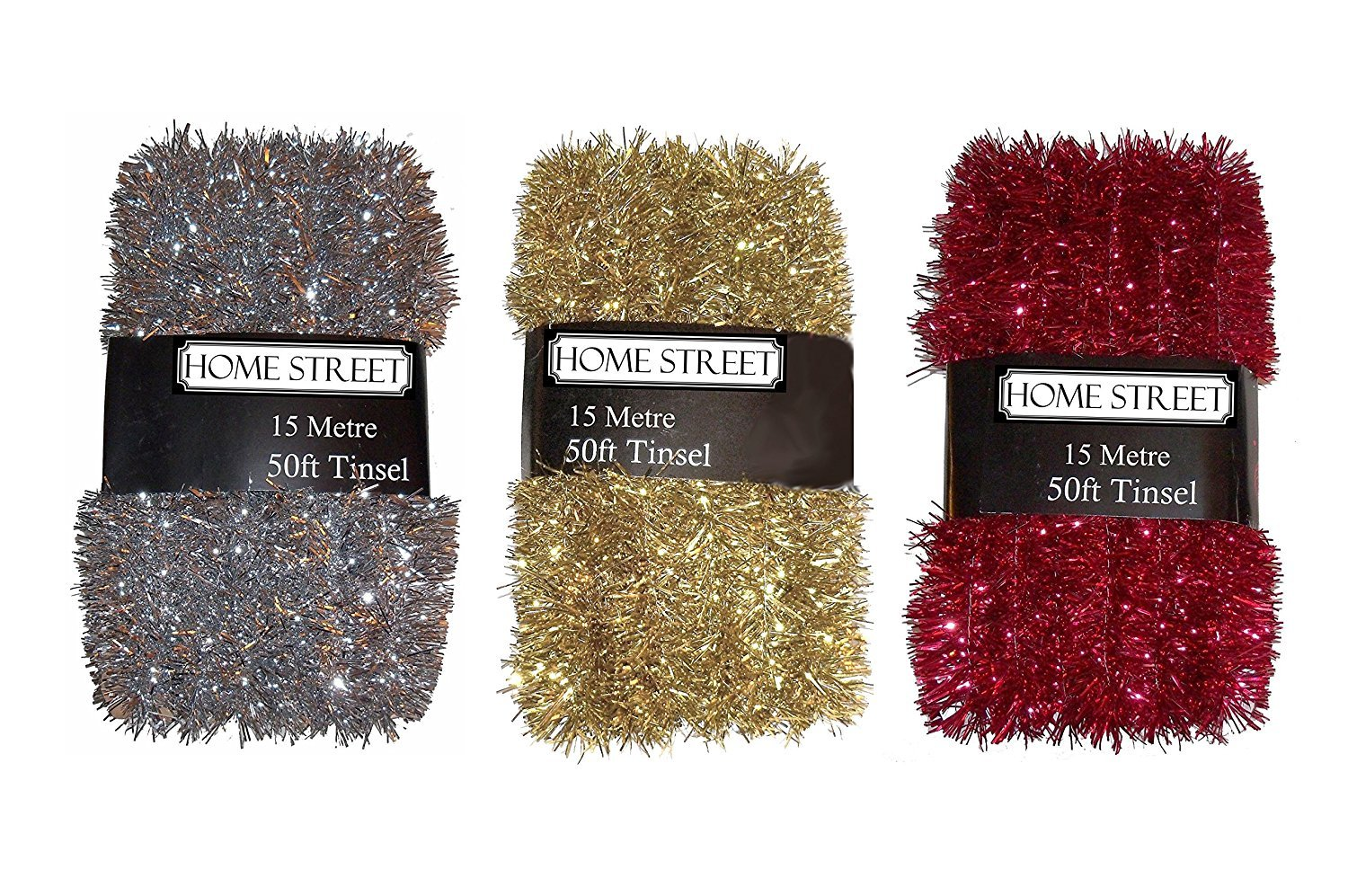 Silver or Gold Xmas Decoration 150ft Total RED 3 PACKS Of Extra Long 15 metre 50 foot,Very Long Christmas Tinsel by Homestreet/® in a choice of Red