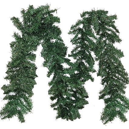 supla 89 ft indoor outdoor artificial christmas garland flexible greenery artificial pine garland 89 ft long - Outdoor Christmas Garland