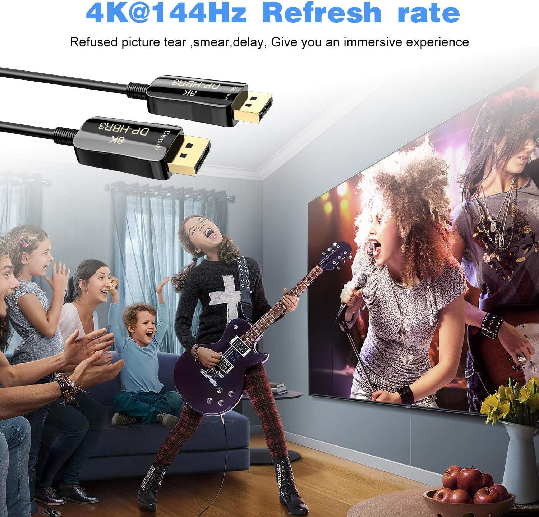 CABLEDECONN 8K 4K DisplayPort-Glasfaserkabel DP 1.4 8K@60Hz 4K@144Hz mit 32,4 Gbit//s Schlankes und Flexibles DP-zu-DP-Kabel 30m 99ft