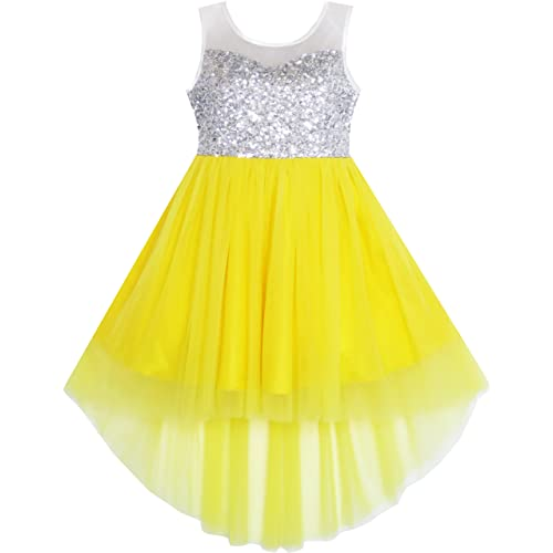 Sunny Fashion Girls Dress Sequin Mesh Party Wedding Princess Tulle 7-14 Years