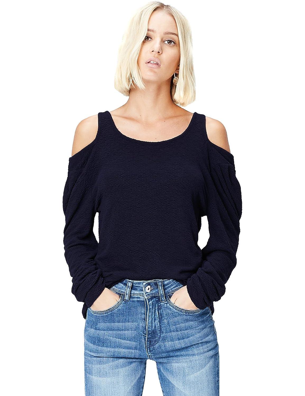 TALLA 40. Marca Amazon - find. Camiseta de Manga Larga y Cuello Redondo Mujer
