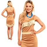 FANCY DRESS LADIES POCAHONTAS INDIAN PRINCESS COSTUME OUTFIT