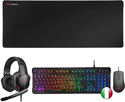 MARSGAMING MCPPRO218, Pack Gaming Ratón, Alfombrilla, Cascos y Teclado Italiano: Amazon.es: Electrónica