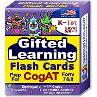TestingMom.com CogAT Test Prep Flash Cards – Kindergarten (Level 5/6) - Grade 1 (Level 7) – 140+ Practice Questions…