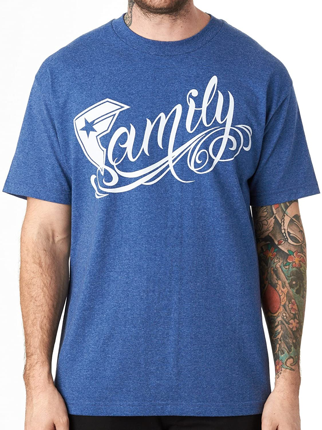 Famous Stars and Straps Men's Big Family SS T Shirt Denim Heather Blue L