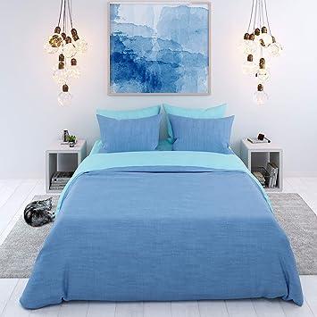 Bettwäsche 100 Baumwolle 3 Teilig Zweifarbig Blau Türkis