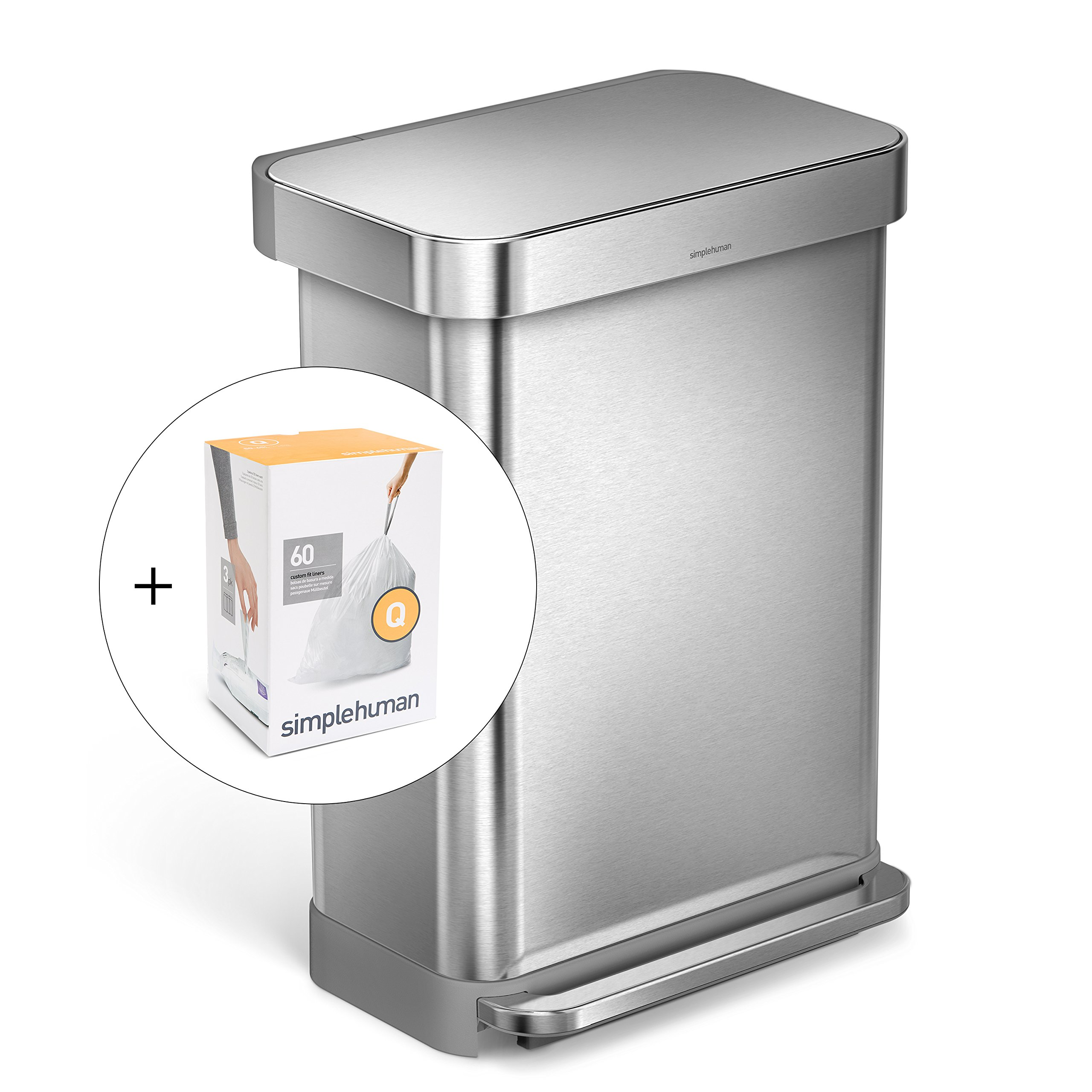 simplehuman 55L Rectangular Step Trash Can with Liner Pocket, Brushed Stainless Steel, with 60 pack custom fit liner code Q