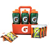 Gatorade Carrier/Bottles Set- Includes 6-32 Oz Gatorade Squeeze Water Bottles