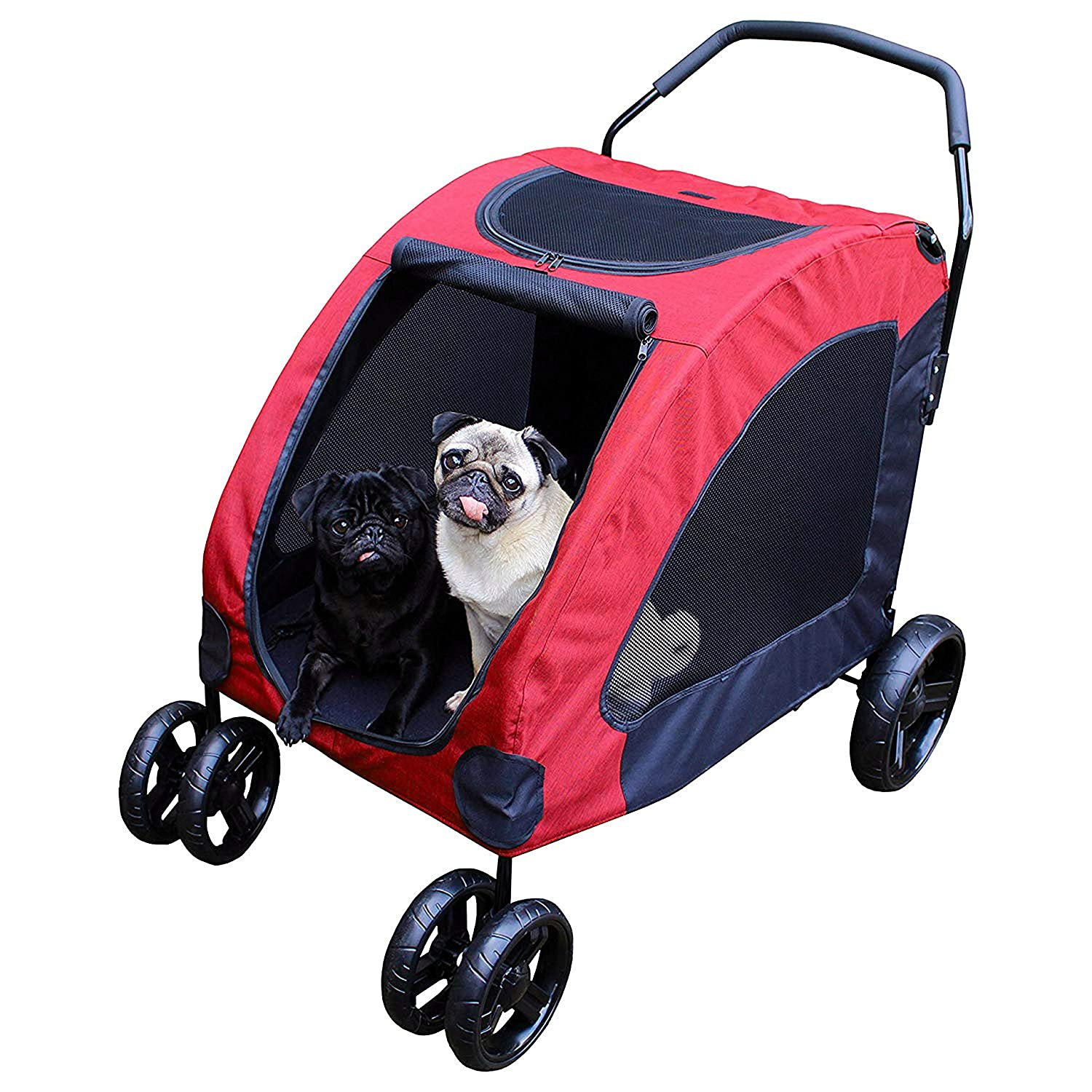 Pet Stroller 4 Wheeled, Large 360 Degree redatable Dog Cat Pram 106cm (41.73 )H, 104cm (40.94 )D and 65cm (25.59 )W in Red Holds 15-45 kg of Weight with Safety Breaks, Netted Windows and Pockets