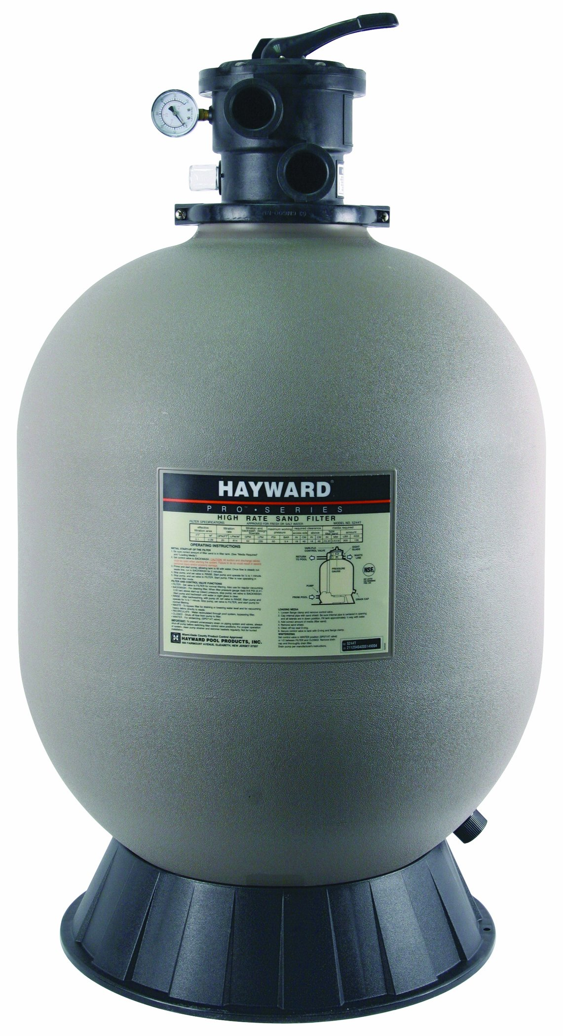 Amazon.com : Hayward S244T ProSeries Sand Filter, 24-Inch, Top-Mount :  Swimming Pool Sand Filters : Garden & Outdoor