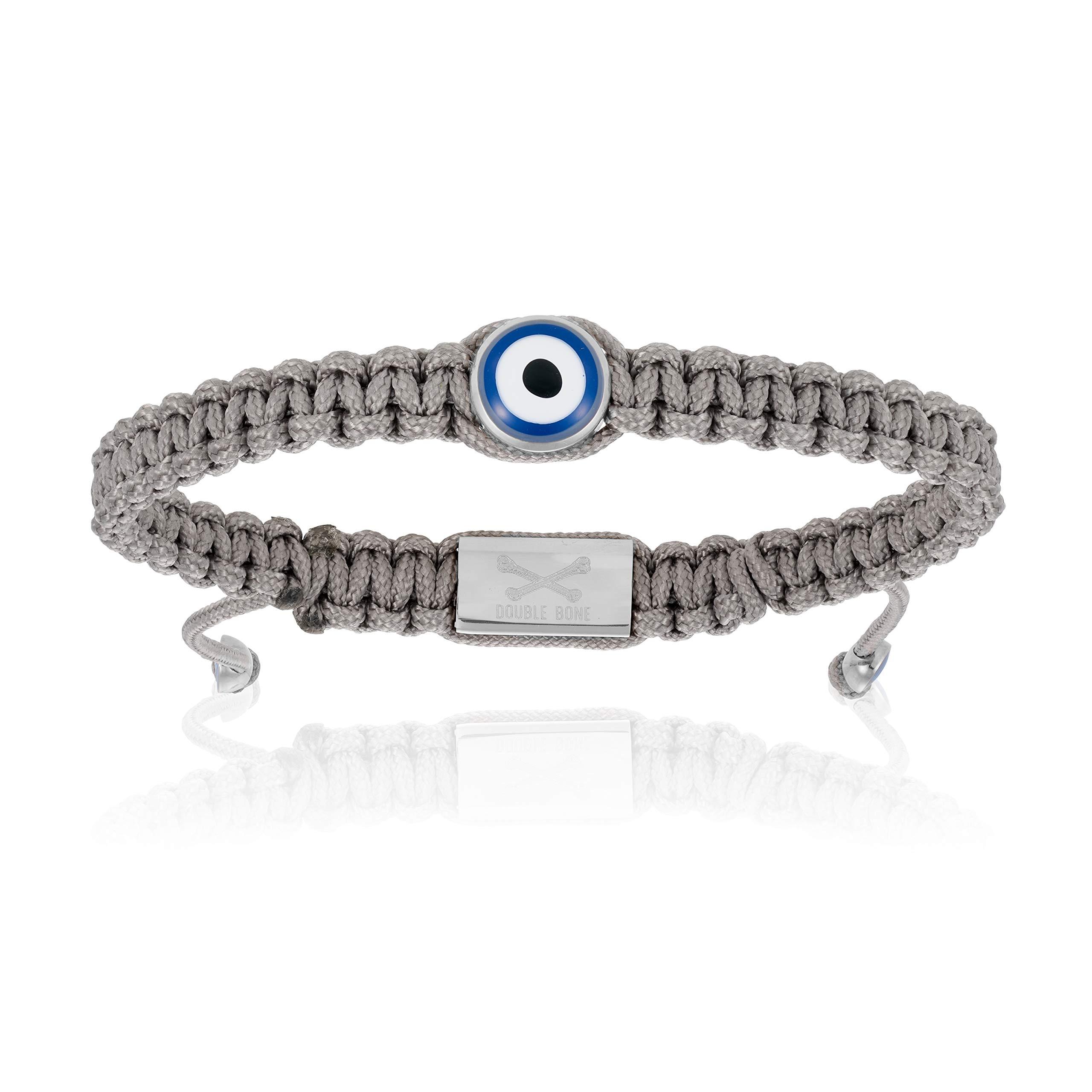 Double Bone Evil Eye Handmade Braided Bracelet with Silver Lucky Eye Unisex and Adjustable (Grey, 18)