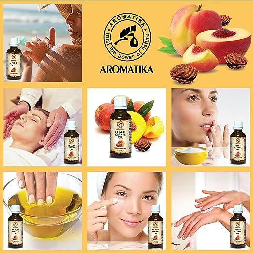 Aceite de Semilla de Durazno 50ml - Prunus Persica - Italia - 100% Puro y Natural - Botella de Vidrio - Aceite de Durazno para Rostro - Cuerpo - Cabello ...