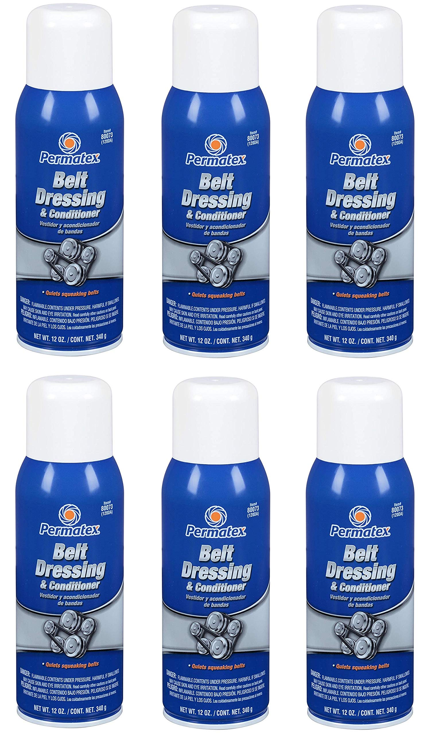 Permatex  80073 Belt Dressing and Conditioner, 12 oz. net Aerosol Can (6)