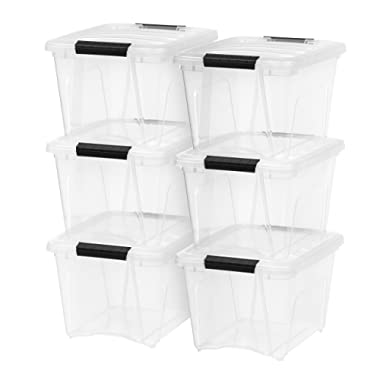 IRIS TB-17 Stack & Pull Box, 19 Quart, Clear with Black Handle, 6 Pack