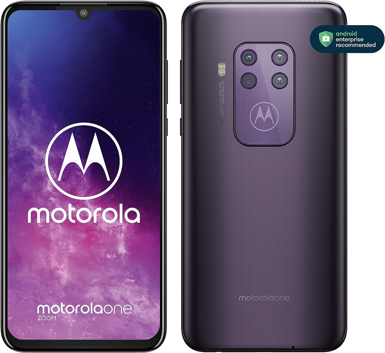 """Motorola One Zoom con Alexa Hands-Free (Pantalla 6,4"""" FHD+, Sistema de 4 cámaras, 128 GB/4 GB, Android 9.0, Dual SIM) Color Púrpura + Auriculares + Funda: Motorola: Amazon.es: Electrónica"""