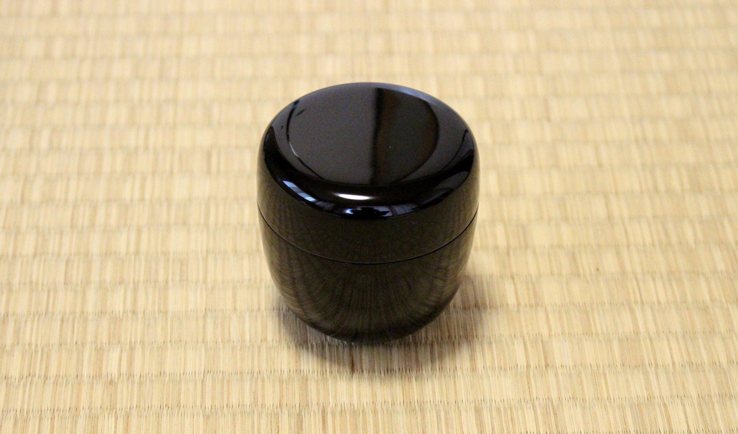 Tea Caddy Japanese Shin Natsume Echizen Urushi lacquer Matcha container black plain by Echizen Urushi